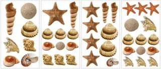Set of 41 New SEA SHELLS WALL DECALS Tropical Bathroom Stickers Beach
