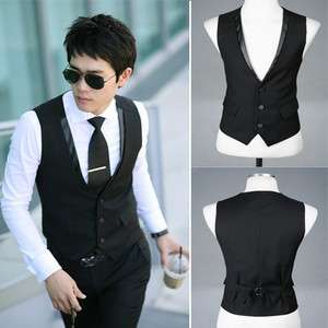 Mens Stylish Casual Business Slim Vests Waistcoat black 6214 3 Sizes