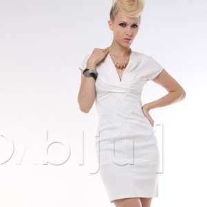 DOUBLJU Womens Fitted Sleeveless Sexy Dress WHITE (DW4
