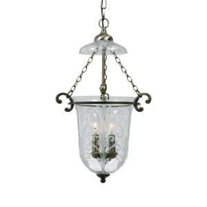 Camden Collection 2 Light 21 Antique Brass Pendant with Etched Clear