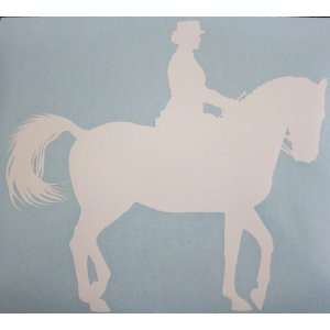 Med White Dressage Horse Car Decal Sticker Automotive