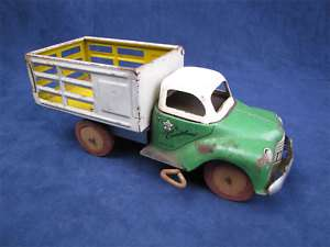Vintage Courtland Mechanical Stake Bed Wind Up Truck