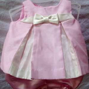 Preemie Baby Girl Pink and White Formal Party Dress, 2