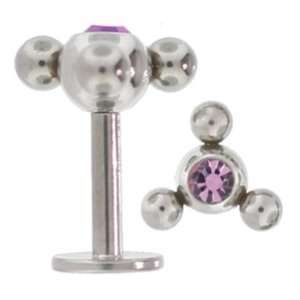 Atom Surgical Steel Labret Lip Ring LT AMETHYST CZ Gem Jewelry
