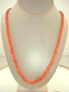 Graduated 6S Pacific Pink Coral Tube Bead Necklace 25