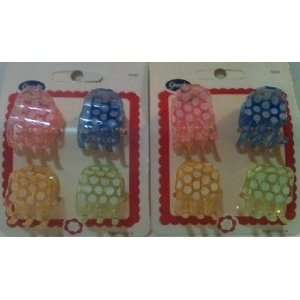 Goody Small Claw Clips Pastel Colors with Polka Dots 2 pack of 4 Clips