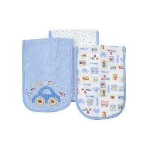 Gerber 3 baby Burp Cloths Blue My Car Goes Fast Baby