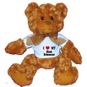 I Love/Heart Giant Schnauzer Plush Teddy Bear with BLUE T