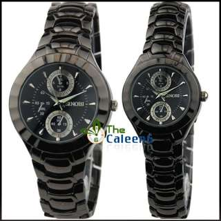New SINOBI Luxury Quartz Men Women Watch Black Silver Stainless Steel