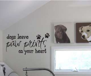 BIG Dogs leave Paw Prints on Your Heart Wall Decals