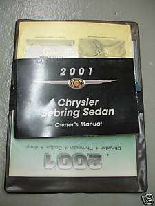 2001 Chrysler Sebring Sedan Owners Manual Guide Books