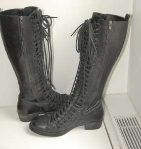 Ann Demeulemeester Triple Lace Black Leather Boots 36 6