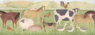 WiDe FARM ANIMALS Country Barn Horses Cows WALL BORDER