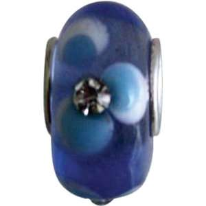 Glass Bead Blue Crystal & Blue Flower Electronics