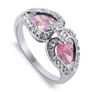 Silver Twin Heart Pink Cubic Zirconia Band Ring Size 7 Jewelry