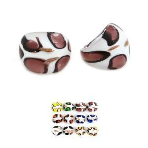 Lifestyles Murano glass Ring White/Brown one size fits most Jewelry