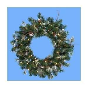 30 Pre Lit Frosted Artificial Christmas Wreath with Pine
