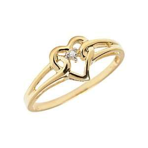 14K Yellow Gold Diamond Heart Ring (Size 11) Jewelry