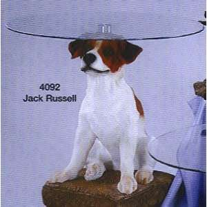 Jack Russell Terrier Dogs End Table with Glass Top