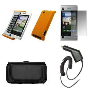 A555 Premium Black Leather Carrying Pouch+ Orange Soft Silicone Skin