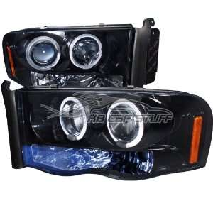 05 Dodge Ram Dual Halo LED Projector Headlights   Black w/Smoke Lens