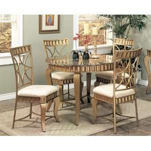 Gold Metal Dining Table w/Marble Top & Chairs Set Furniture & Decor
