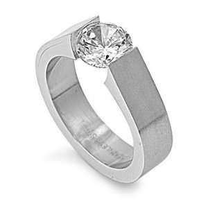 Stainless Steel Tension Set CZ Ring (Size 5   10)   Size 5 Jewelry