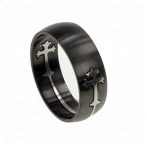 Matte Black Stainless Steel Cross Laser Cut Ring   Size 6 Jewelry
