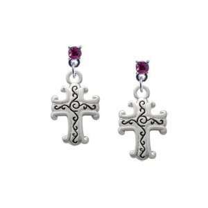 Silver Scroll Cross with Antiqued Decoration Hot Pink Swarovski