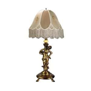Tiffany PT60085 Lady/Beige Table Lamp, Copper Brass and Fabric Shade
