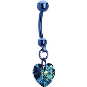 Genuine Vitrail Green Preciosa Heart Titanium Belly Ring Jewelry