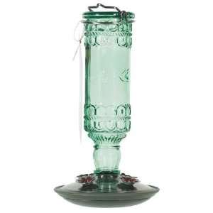 Opus 10 oz Elegant Antique Glass Bottle Hummingbird Feeder