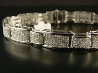 MENS WHITE GOLD FINISH PAVE DIAMOND BRACELET 5.00 CT